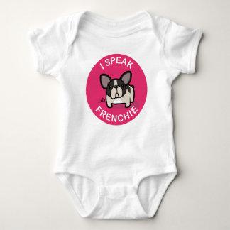 ピンクのBrindle雑色私はFrenchieを話します ベビーボディスーツ