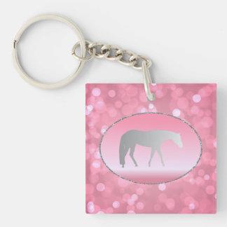 ピンクのBrokehの銀製の西部の喜びの馬 キーホルダー