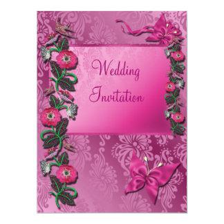 ピンクのCerise花いっぱいの結婚式招待状カード 16.5 X 22.2 インビテーションカード