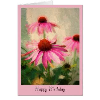 ピンクのConeflowerの誕生日の挨拶状 グリーティングカード