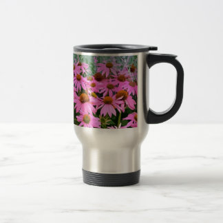ピンクのechinaceaの抽象芸術の花柄 トラベルマグ