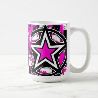 ピンクのEmoの星のコーヒー・マグ コーヒーマグカップ