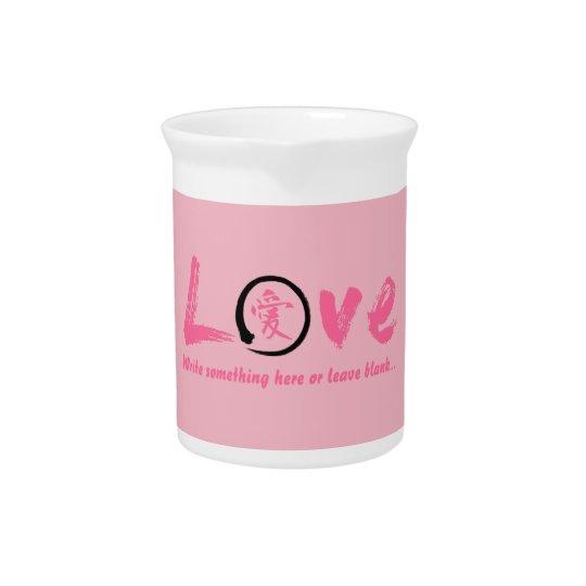 ピンクのensoの禅の円、愛のための日本のな記号 ピッチャー