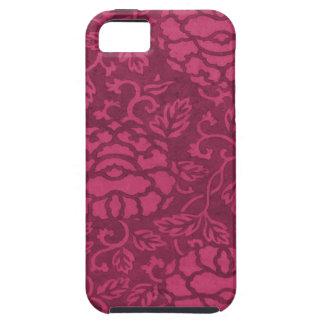 ピンクのFlambéのヴィンテージのシャクヤクのダマスク織のiPhone 5の場合 iPhone SE/5/5s ケース