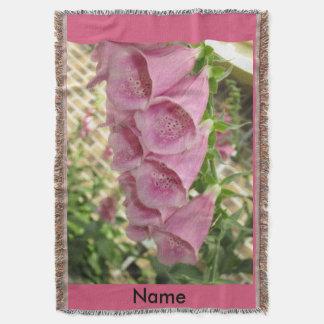 ピンクのFoxgloveのブランケット スローブランケット