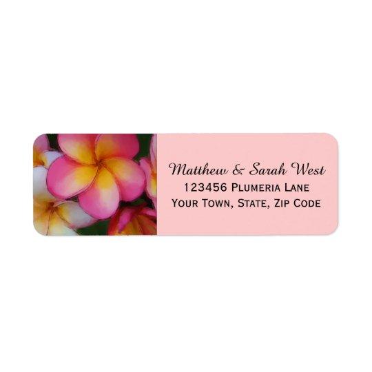 ピンクのFrangipaniのプルメリアの熱帯花 返信用宛名ラベル
