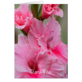 ピンクのGladiolasのNotecardありがとう グリーティングカード