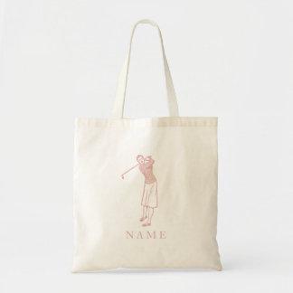 ピンクのGolferヴィンテージの女性 トートバッグ