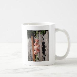 ピンクのHollyhock コーヒーマグカップ