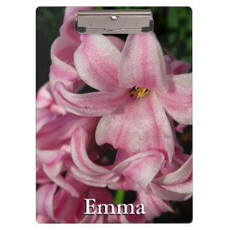 ピンクのHyacinthの美しい春の花 クリップボード