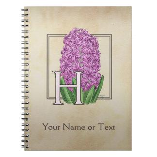 ピンクのHyacinthの花の名前入りなモノグラム ノートブック