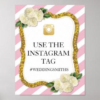 ピンクのInstagramの印のストライプの金ゴールドポスター結婚式 ポスター