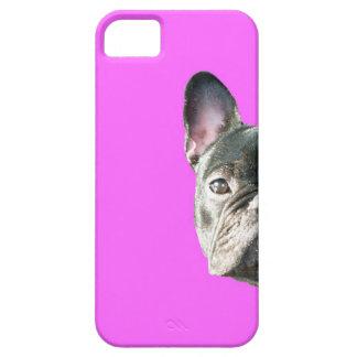 」ピンクのIphone 5の場合をかいま見ているフレンチ・ブルドッグ「 iPhone SE/5/5s ケース