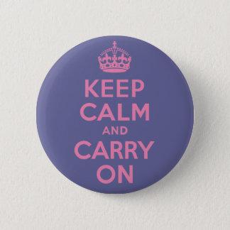 ピンクのKeep Calm and Carry On 5.7cm 丸型バッジ