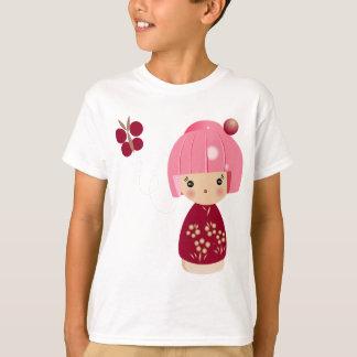 ピンクのKokeshiの三重項の子供のティー Tシャツ