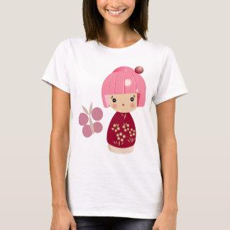 ピンクのKokeshiの三重項の細い肩ひもの上 Tシャツ