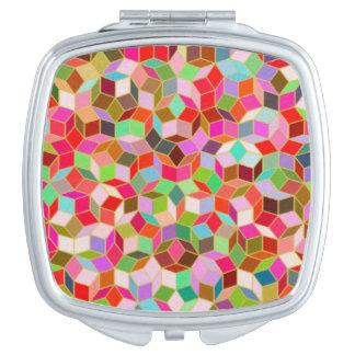 ピンクのPenroseのタイルのコンパクトの鏡