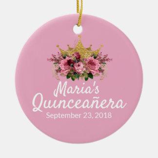 ピンクのQuinceañeraの記念品のオーナメント セラミックオーナメント
