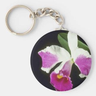 ピンクのRemo Prada 「王冠」の(Laeliocattelaya)花 キーホルダー