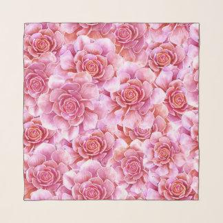 ピンクのSucculentsのサボテンの花柄のラベンダー スカーフ
