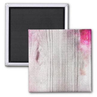 ピンクのWoodgrainパターン正方形の磁石 マグネット