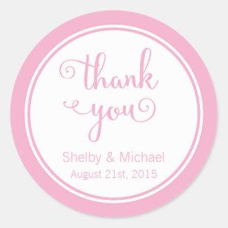 ピンクはカスタムな文字の名前入りなステッカー感謝していしています ラウンドシール