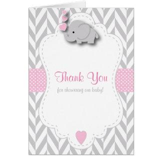 ピンクは、白い灰色象のベビーシャワー感謝していしています ノートカード