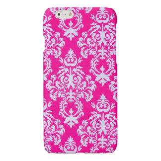 ピンクまたは白のダマスク織のiPhoneの場合 光沢iPhone 6ケース