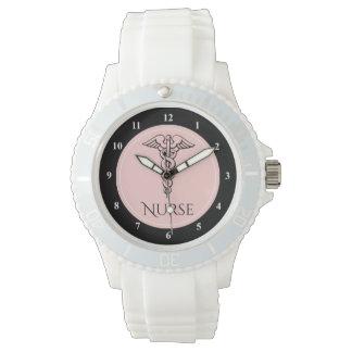 ピンクを看護している医学のケリュケイオンの記号| RNのナース 腕時計