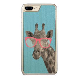 ピンクガラスのかわいくおもしろいな電話を持つキリン CARVED iPhone 8 PLUS/7 PLUS ケース