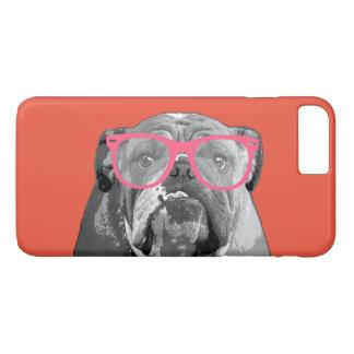 ピンクガラスのかわいくおもしろいな電話箱を持つブルドッグ iPhone 8 PLUS/7 PLUSケース
