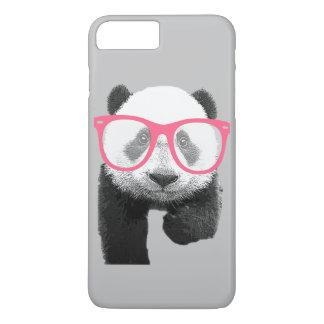 ピンクガラスのかわいくおもしろいな電話7を持つパンダ+ 場合 iPhone 7 PLUSケース