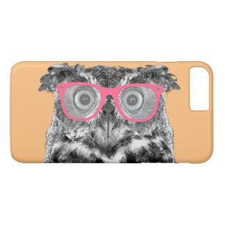 ピンクガラスのかわいくおもしろいな電話7を持つフクロウ+ 場合 iPhone 8 PLUS/7 PLUSケース