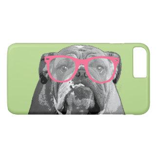 ピンクガラスのかわいくおもしろいな電話7を持つブルドッグ+ 場合 iPhone 8 PLUS/7 PLUSケース