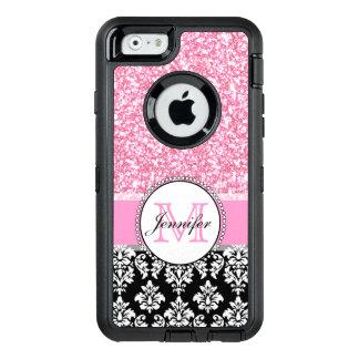 、ピンクガーリー、黒いダマスク織は名前入りなぴかぴか光ります オッターボックスディフェンダーiPhoneケース