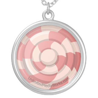 ピンクキャンデーの渦巻 シルバープレートネックレス