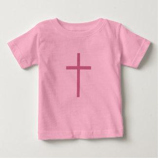 ピンクキリスト教の十字の乳児 ベビーTシャツ