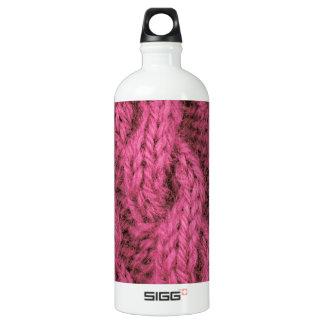 ピンクケーブルの編み物 ウォーターボトル