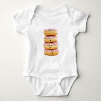 ピンクドーナツキャラクターのベビーのTシャツのタワー ベビーボディスーツ
