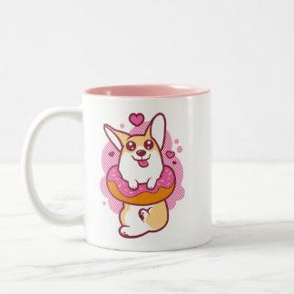 ピンクドーナツコーギーのマグ ツートーンマグカップ
