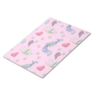 ピンクハート及び孔雀-及び青緑色の歓喜 ノートパッド