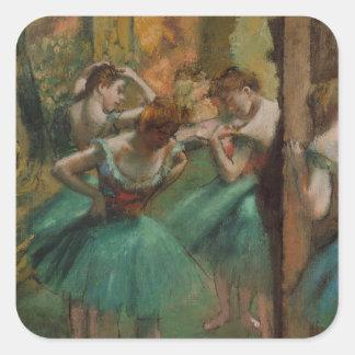 ピンクバレエのアートワークのダンサーおよび緑のエドガー・ドガ スクエアシール