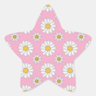 ピンクパターンのかわいく白いデイジー 星シール