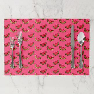 ピンクパターンの夏のスイカ ペーパーランチョンマット
