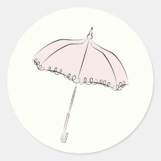 ピンクパラソル 丸型シール