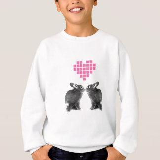 ピンクピクセルハートのかわいいバニー スウェットシャツ