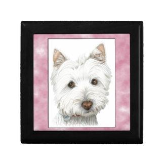 ピンクフレームのかわいいWestie犬の芸術 ギフトボックス