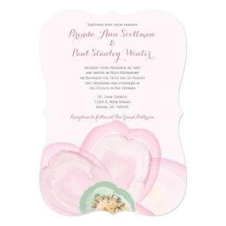ピンクブラケットの水彩画の花柄の招待状 カード