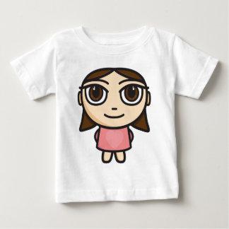 ピンクブルネットブラウンの目の女の子 ベビーTシャツ