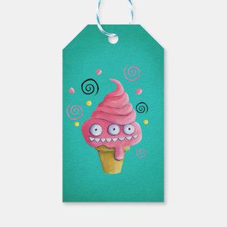 ピンクモンスターのアイスクリームコーン ギフトタグ